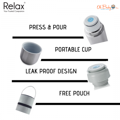 Relax Classic Stainless Steel Thermal Flask With Free Pouch(D2010) 1L