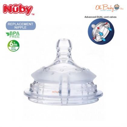 Nuby Comfort Silicone Bottle Teat (Slow flow/medium flow/fast flow)