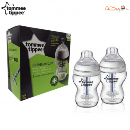Tommee Tippee Closer To Nature Vented Bottle-Anti Colic 260ml/9oz (Twin Pack)