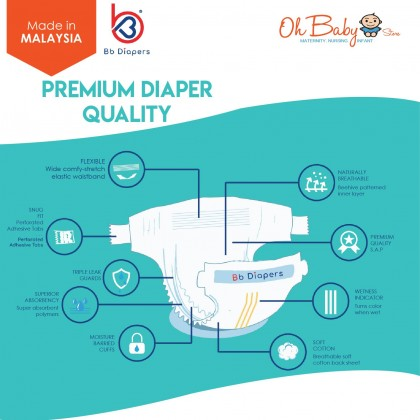 Bb Diapers Premium Tape Diapers Size NewBorn NB (30pcs x 5 Packs)