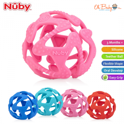 Nuby Tuggy Teething Ball (Red/Blue/Turquoise)