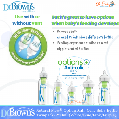 Dr. Brown's Natural Flow® Options+™ Anti-colic Narrow Neck Baby Bottle Twinpack-250ml (White/Blue/Pink/Purple)