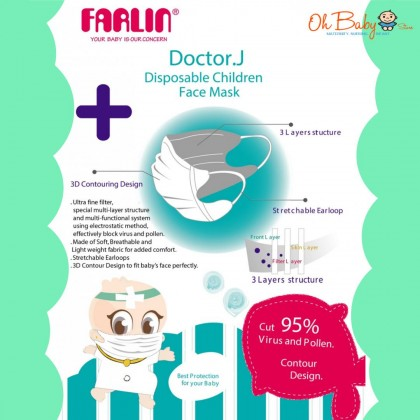 Farlin Doctor J. Disposable Children Face Mask For Baby & Kids - Blue - 5pcs(24months+)
