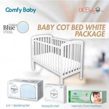 Comfy Baby Wooden Baby Cot - White (60x120cm) + Comfy Baby Memory Foam Mattress + Comfy Baby Comfy Living 6 In 1 Bedding Set + Comfy Baby Comfy Living Mosquito Net For Baby Cot [ PACKAGE ]
