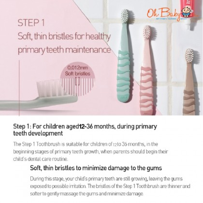 K MOM Kids Toothbrush Step1/Step2 for Kid (12 Months - 12 Years)