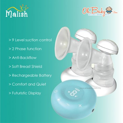 Malish Adela Rechargeable Double Electric Breast Pump Package