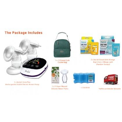 Malish Celia Plus Rechargeable Double Electric Breast Pump Package