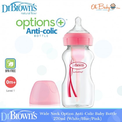 Dr Brown's Natural Flow Options+ Anti-Colic Wide-Neck Baby Bottle - White/Blue/Pink (270ml)
