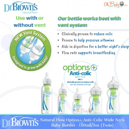Dr Brown's Natural Flow Option+ Anti-Colic Wide Neck Baby Bottles (150ml/5oz) [Twin Pack]