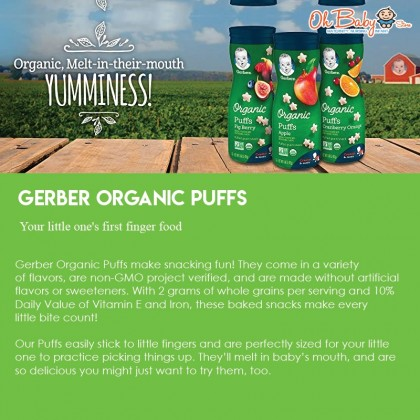Gerber Organic Puffs Cereal Snack (Apple/Cranberry Orange/Fig Berry) Baby Foods Crawler 8 + Months