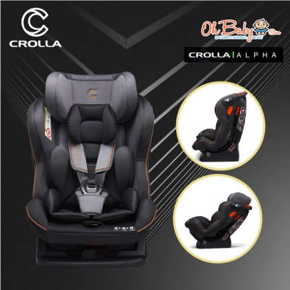 Crolla Alpha Convertible Car Seat New Born to 7 years old 25kg Coal Black
