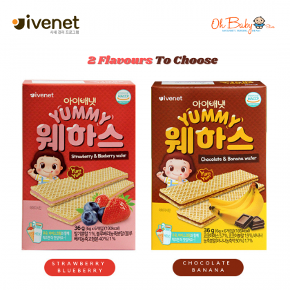 Ivenet Bebe Yummy Wafer Banana Chocolate / Strawberry Blueberry ( 36g )