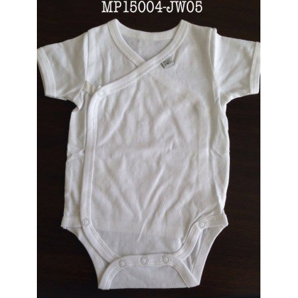 Mini Pod - Short Sleeve Overlap Romper (Jac White)