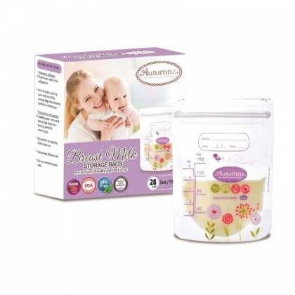 Autumnz Double ZipLock Breastmilk Storage Bag (28 bags) *5oz x 10*