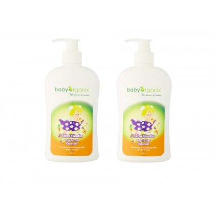 Baby Organix - Extra Gentle Top To Toe Cleanser 400ml (Grape) Twin