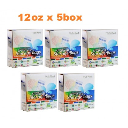 Milk Planet - Premium Double Ziplock Breastmilk Storage Bag (12oz x 5box)