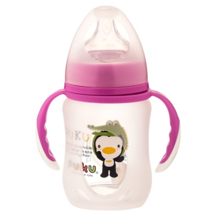 Puku - Glass Wide Neck Training Bottle With Silicone Protector