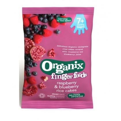 Organix Finger Food - Raspberry & Blueberry Rice Cakes 7m+ (50g)