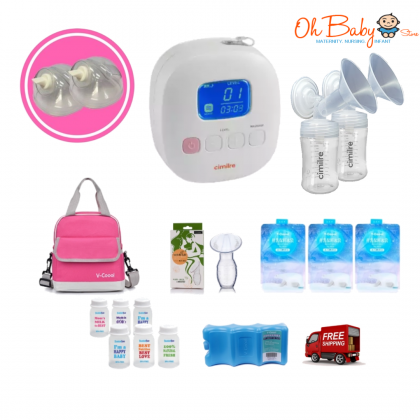 Cimilre F1 Rechargeable Double Breast Pump with Hands Free Kit Package