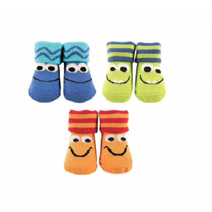 Luvable Friends - Boy Sock Gift Set  Monster Faces 3 Pair (0-9m)