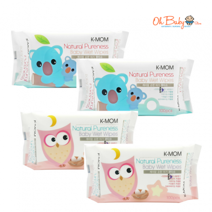 K Mom Natural Pureness Baby Bottle Cleanser Bubble Type (500ml) x 2 + Natural Pureness Basic Wet Wipe 100's x 4 + FREE Natural Pureness Wet Wipes 10s x 3