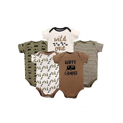 Luvable Friends Hanging Bodysuit 5pk Happy Camper